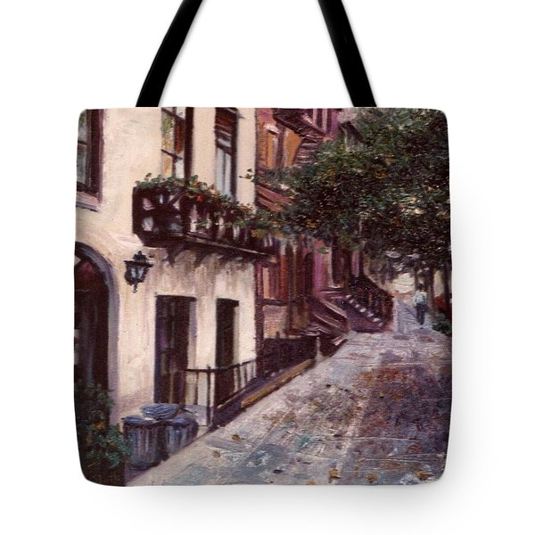 Tote Bag featuring the painting street in the Village NYC by Walter Casaravilla