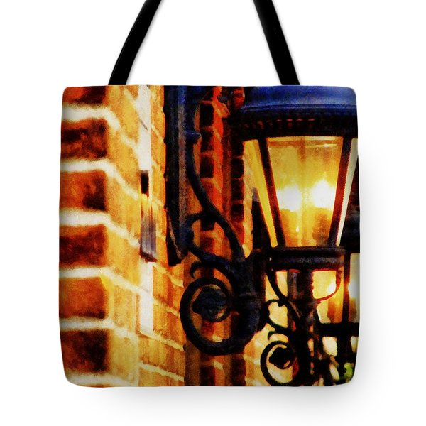 Street Lamps In Olde Town Tote Bag by Michelle Calkins