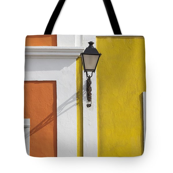 Tote Bag featuring the photograph Street Light In Old San Juan Streetlight Puerto Rico by Bryan Mullennix