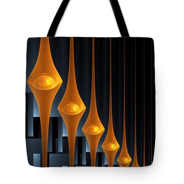 Tote Bag featuring the digital art Street Lights by Gabiw Art