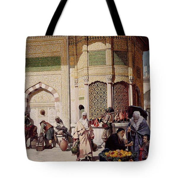 Street Merchant In Istanbul Tote Bag by Hippolyte Berteaux