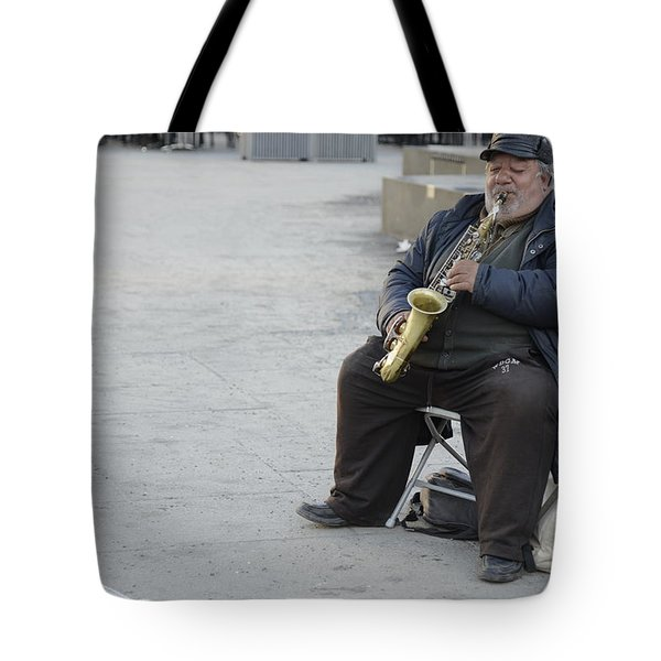 Street Musician - The Gypsy Saxophonist 3 Tote Bag