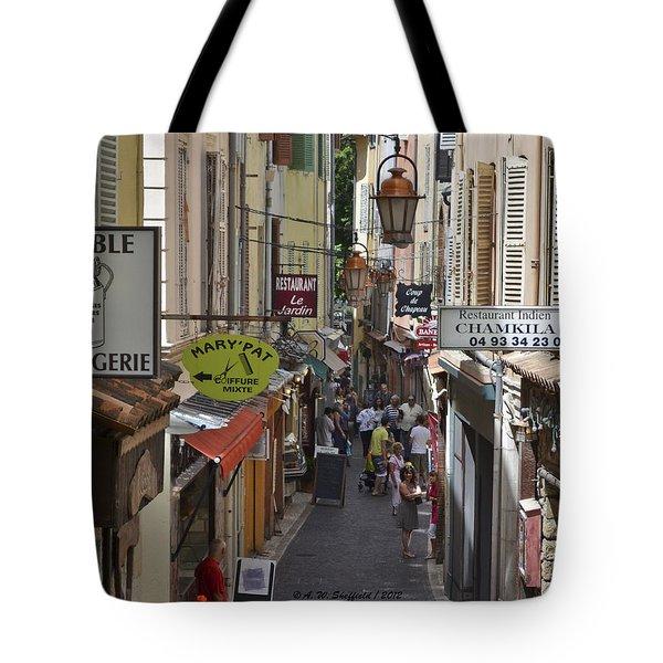 Street Scene In Antibes Tote Bag by Allen Sheffield