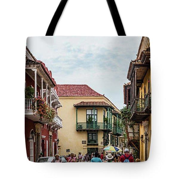 Street Scene In Old Town, Cartagena Tote Bag