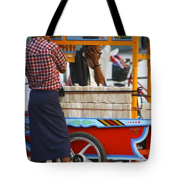 Street Seller At The Foreshore Of The Yangon River Yangon Myanmar Tote Bag