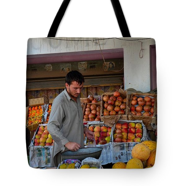 Street Side Fruit Vendor Islamabad Pakistan Tote Bag by Imran Ahmed