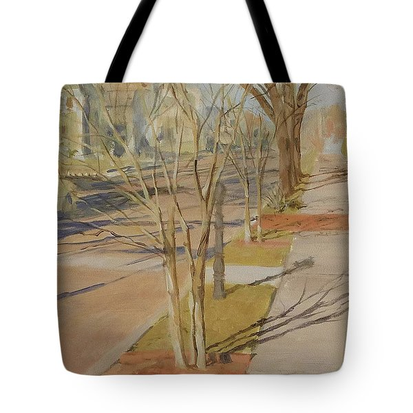 Street Trees With Winter Shadows Tote Bag