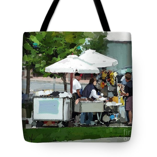 Tote Bag featuring the painting Street Vendor by Sally Simon