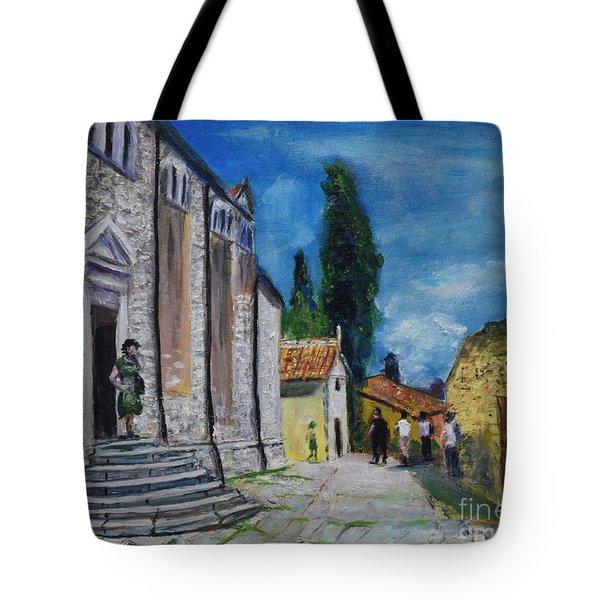 Street View In Rovinj Tote Bag