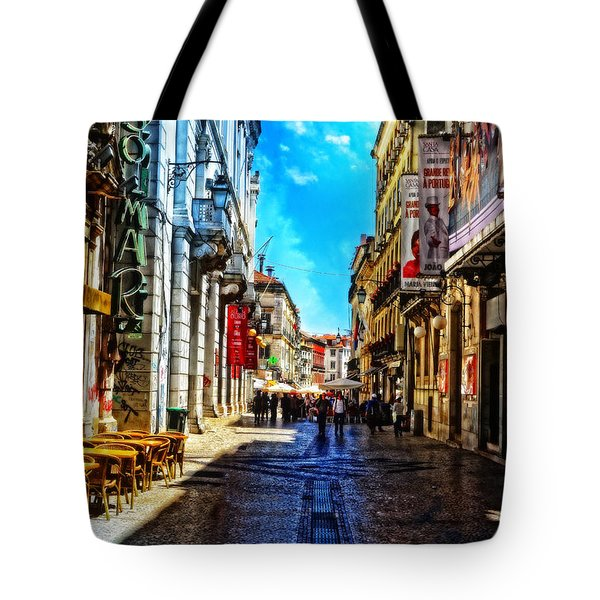 Streets Of Lisbon 1 Tote Bag by Mary Machare