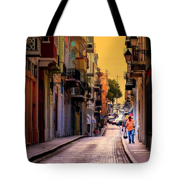 Streets Of San Juan Tote Bag by Karen Wiles