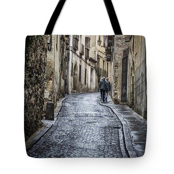 Streets Of Segovia Tote Bag by Joan Carroll