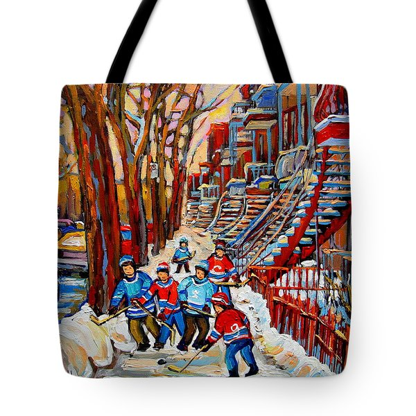 Streets Of Verdun Hockey Art Montreal Street Scene With Outdoor Winding Staircases Tote Bag by Carole Spandau