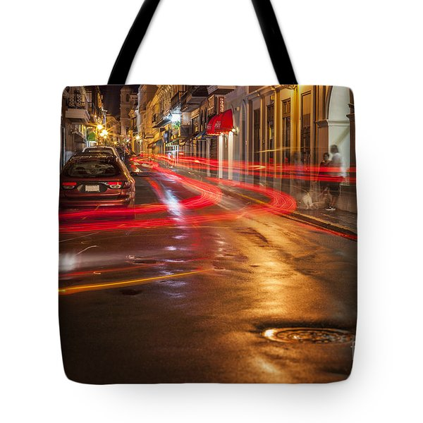 Tote Bag featuring the photograph Streetscene At Night In Old San Juan Puerto Rico by Bryan Mullennix