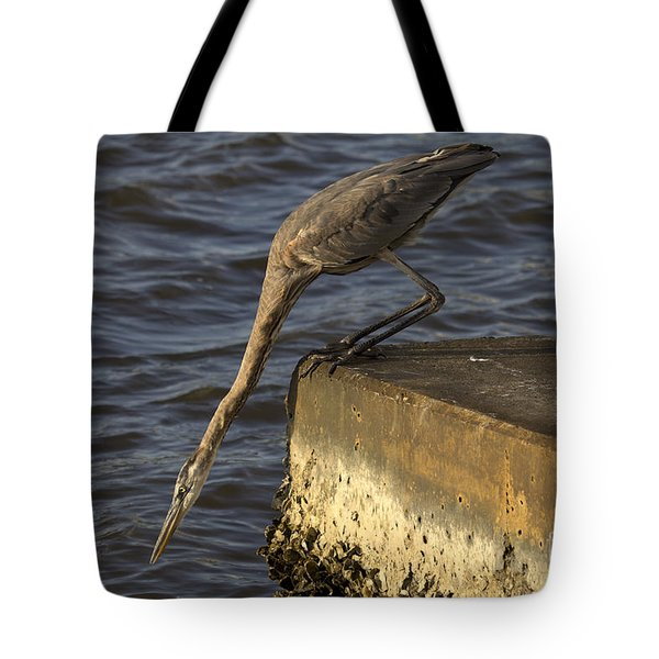 Tote Bag featuring the photograph Stretch - Great Blue Heron by Meg Rousher