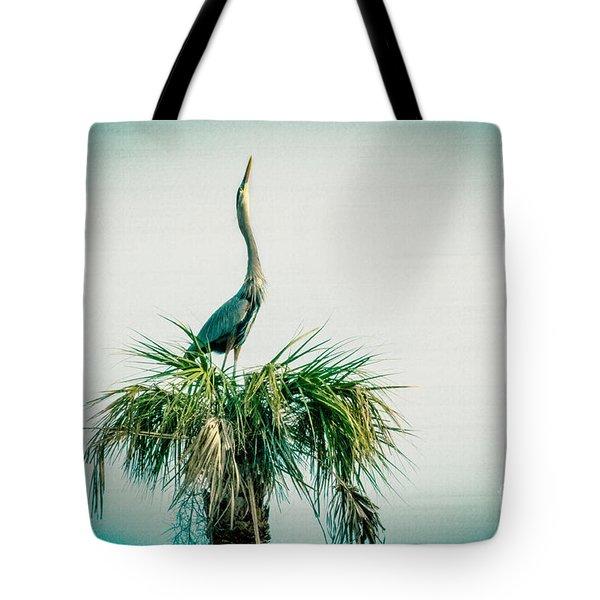 Stretching Heron Tote Bag by Bob and Nancy Kendrick