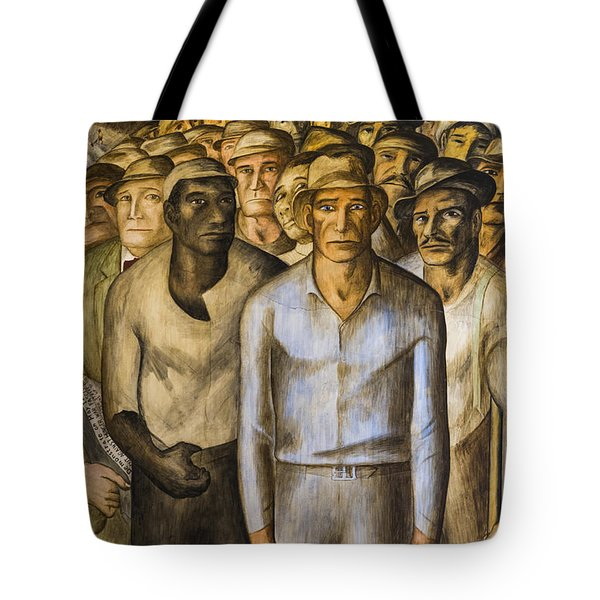 Striking Miners Mural In Coit Tower Tote Bag by Adam Romanowicz