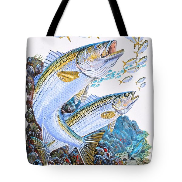 Striped Bass Rocks Tote Bag by Carey Chen