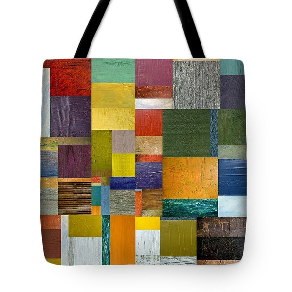 Strips And Pieces V Tote Bag by Michelle Calkins