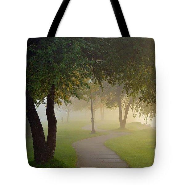 Stroll In The Fog Tote Bag by Terri Gostola