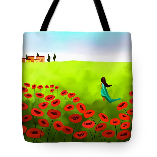 Strolling Among The Red Poppies Tote Bag