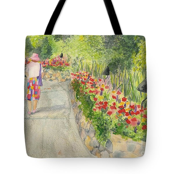 Tote Bag featuring the painting Strolling Butchart Gardens by Vicki  Housel