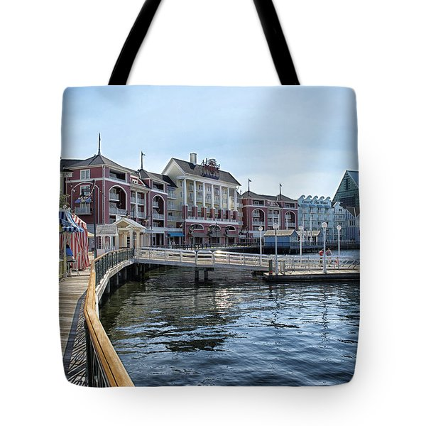 Strolling On The Boardwalk At Disney World Tote Bag