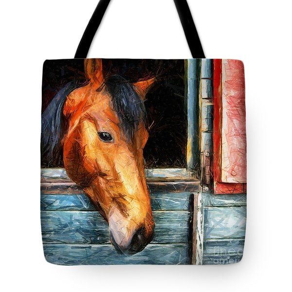 Strong Powerful Beautiful - Horse Drawing Tote Bag