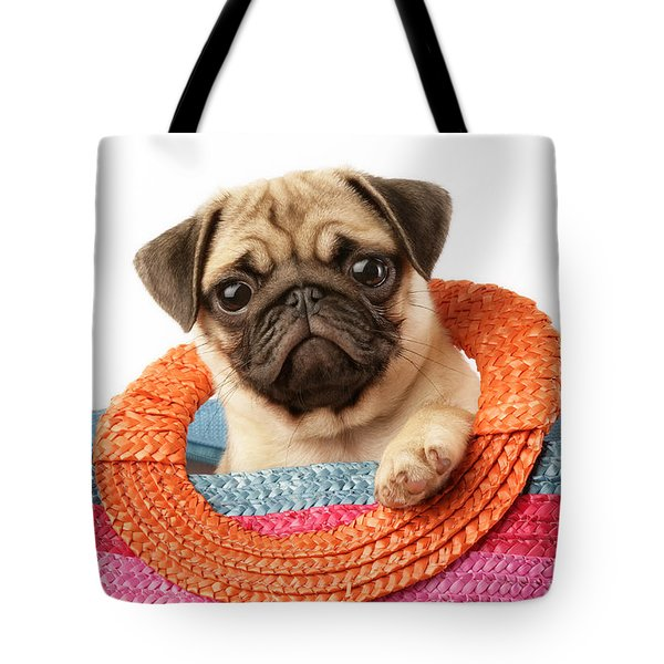 Stuck Pug Tote Bag by Greg Cuddiford