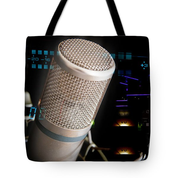 Tote Bag featuring the photograph Studio Microphone And Recording Gear by Gunter Nezhoda