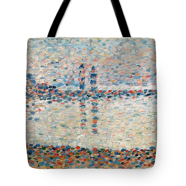 Study For The Channel At Gravelines Evening Tote Bag by Georges Pierre Seurat