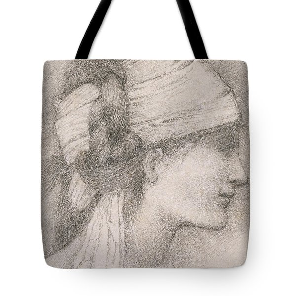 Study Of A Female Head To The Right Tote Bag by Sir Edward Coley Burne-Jones