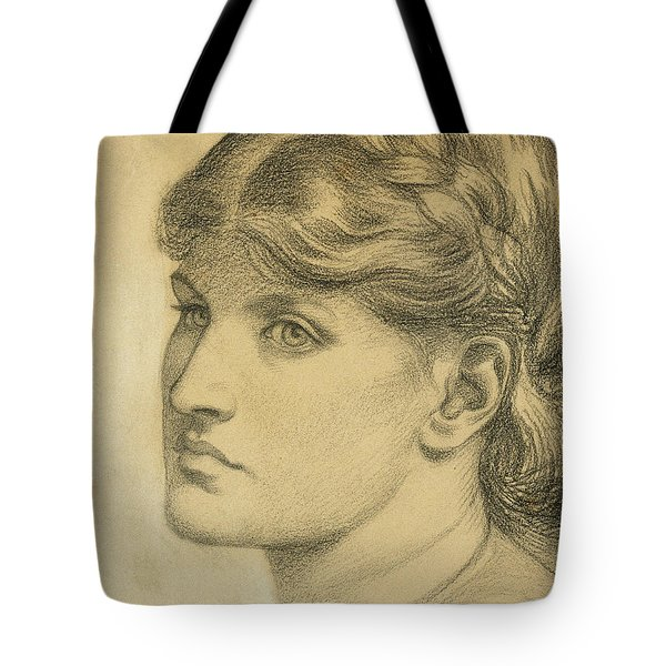 Study Of A Head For The Bower Meadow Tote Bag by Dante Charles Gabriel Rossetti