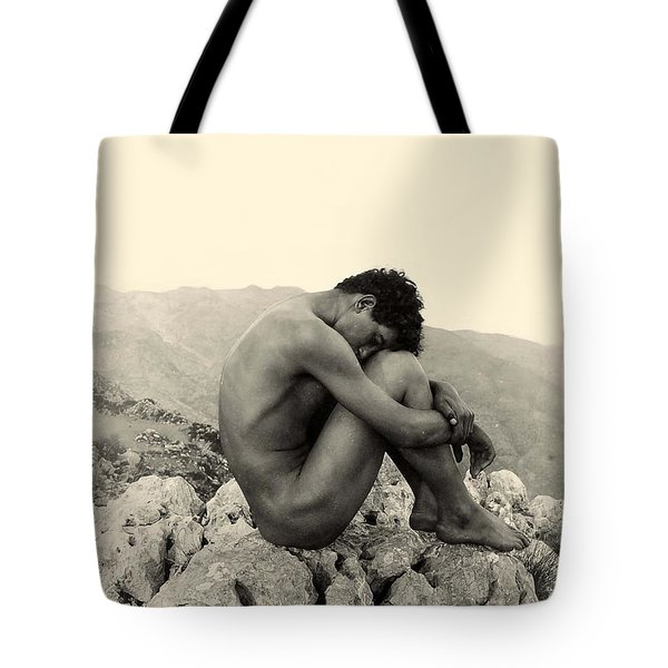 Study Of A Male Nude On A Rock In Taormina Sicily Tote Bag