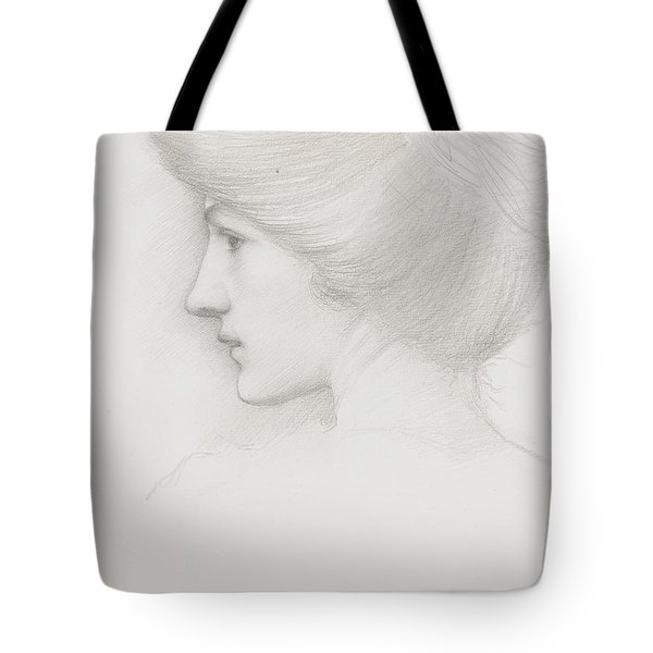 Study Of A Woman's Head Profile To Left Tote Bag by Sir Edward Coley Burne-Jones