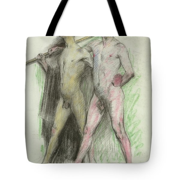 Study Of Two Male Figures  Tote Bag