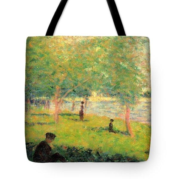Study On La Grande Jatte Tote Bag by Georges Seurat