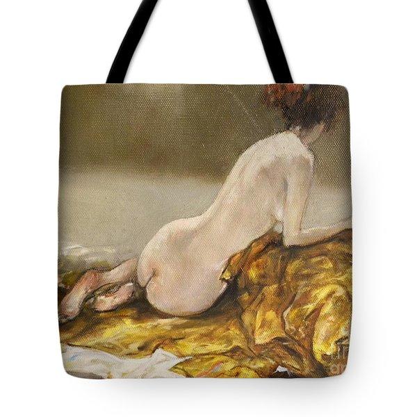 Study Over A Silk Drapery Tote Bag