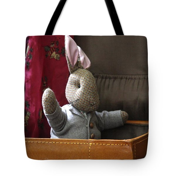 Stuffed Bunny In A Suitcase Tote Bag