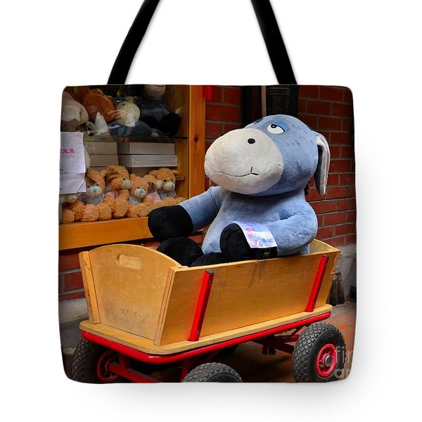 Stuffed Donkey Toy In Wooden Barrow Cart Tote Bag