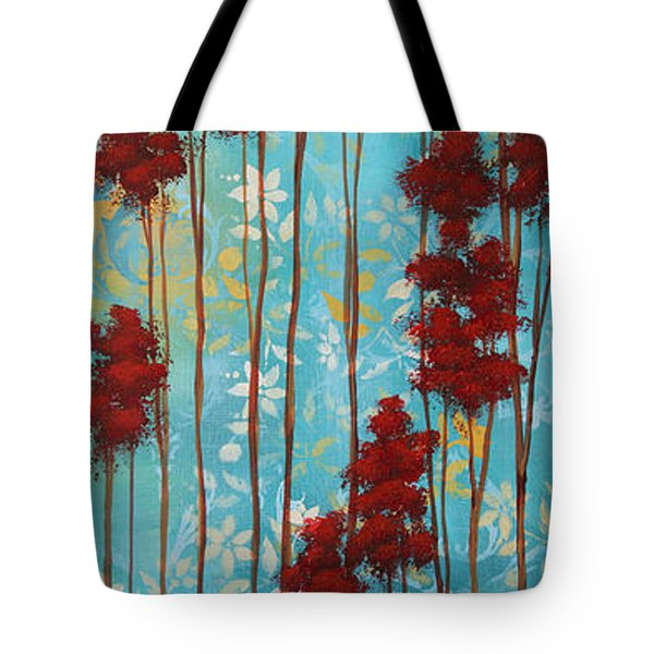 Stunning Abstract Landscape Elegant Trees Floating Dreams I By Megan Duncanson Tote Bag by Megan Duncanson