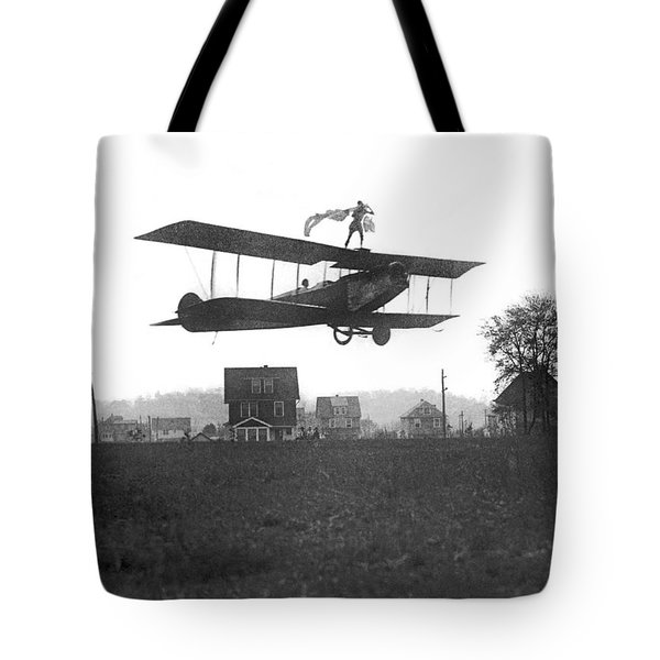 Stunts Atop A Biplane Tote Bag