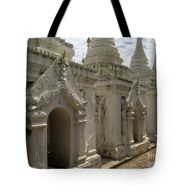 Tote Bag featuring the photograph Stupas With Buddhist Inscription Slabs Sandamuni Pagoda Mandalay Burma by Ralph A  Ledergerber-Photography