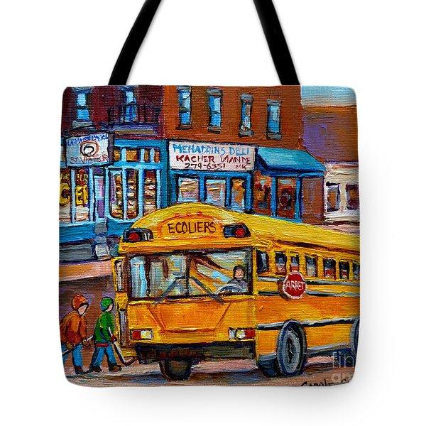 St.viateur Bagel And School Bus Montreal Urban City Scene Tote Bag by Carole Spandau