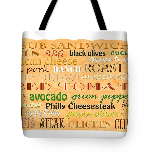 Sub Sandwich Typography Tote Bag by Andee Design