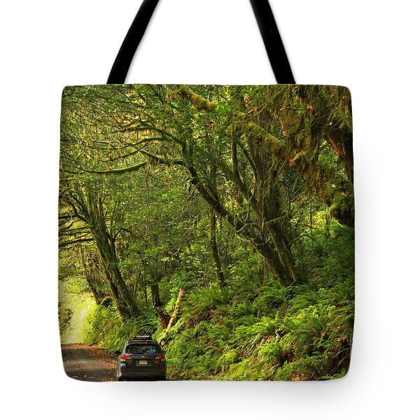 Subaru In The Rainforest Tote Bag