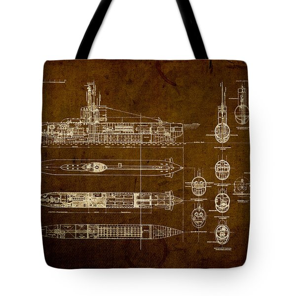 Submarine Blueprint Vintage On Distressed Worn Parchment Tote Bag