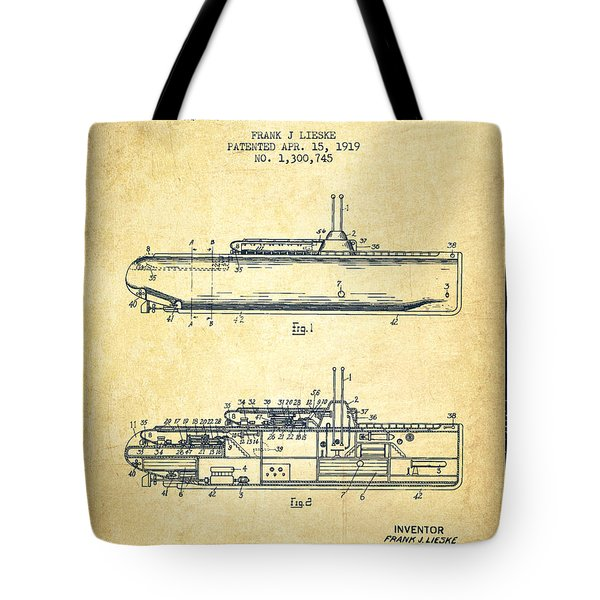 Submarine Patent From 1919 - Vintage Tote Bag