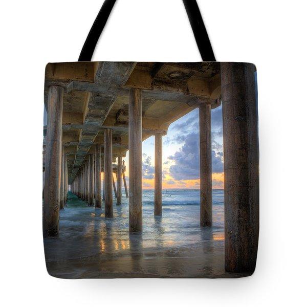 Subtle Pier Sunset Tote Bag