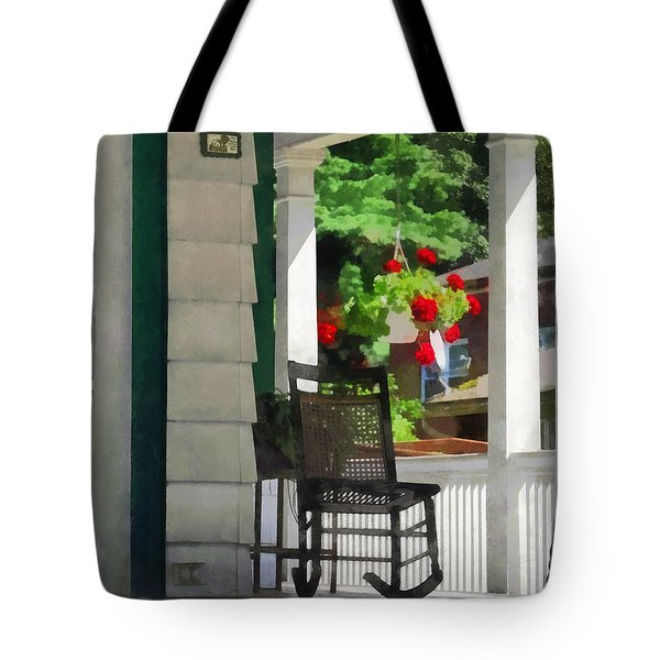 Suburbs - Porch With Rocking Chair And Geraniums Tote Bag by Susan Savad